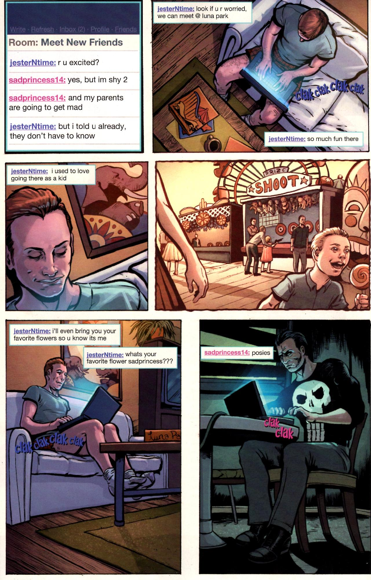 The Punisher is masquerading as a young girl online so he can lure sex…