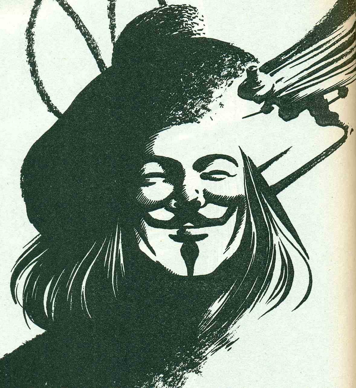 v for vile the hooded utilitarian that s our man v there he s wearing his trademark guy fawkes mask guy fawkes is the book s symbolic hero lloyd mentions in an afterward that he wanted to