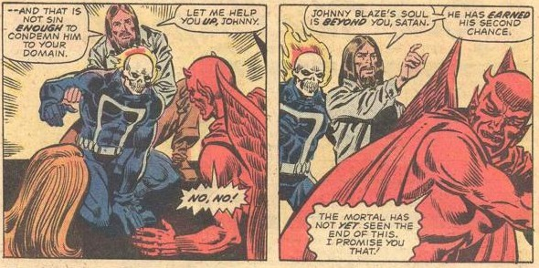 Writer Tony Isabella presumes to create a fictional Jesus, and to know what Jesus would say or do upon meeting Ghost Rider. From Ghost Rider #9 (December 1974). Penciled by Jim Mooney and inked by Sal Trapani.